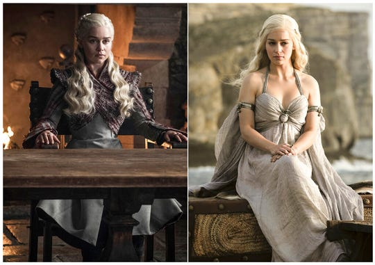 This combination photo of images released by HBO shows Emilia Clarke portraying Daenerys Targaryen.