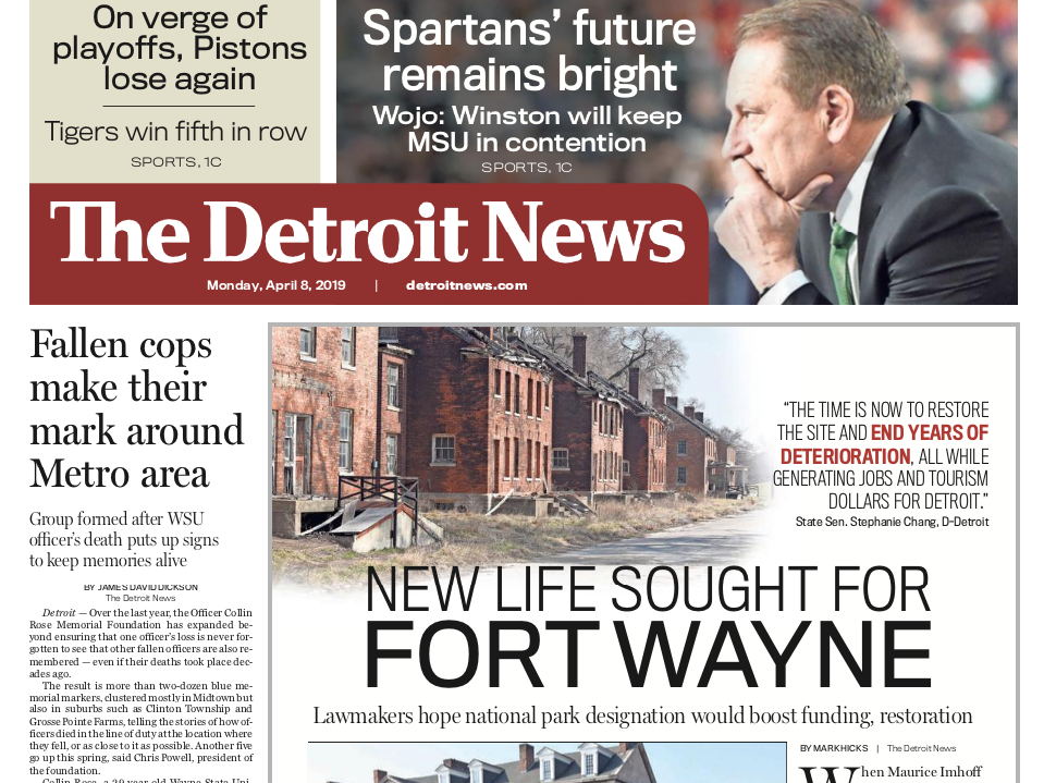 The front page of the Detroit News on Monday, April 8, 2019