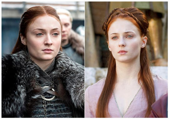This combination photo of images released by HBO shows Sophie Turner portraying Sansa Stark.