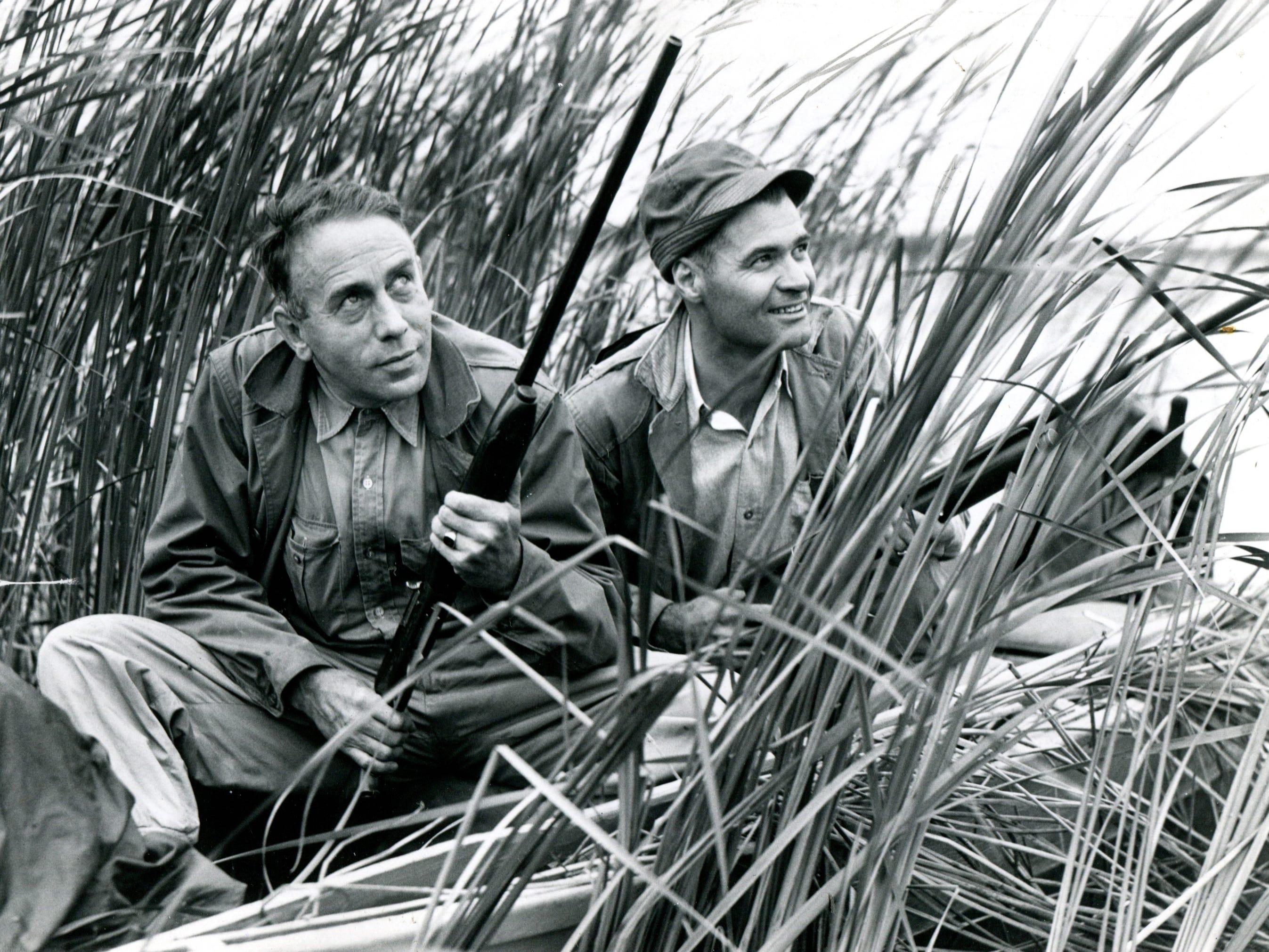 Duck hunters in Michigan await their prey on Sept. 22, 1944.