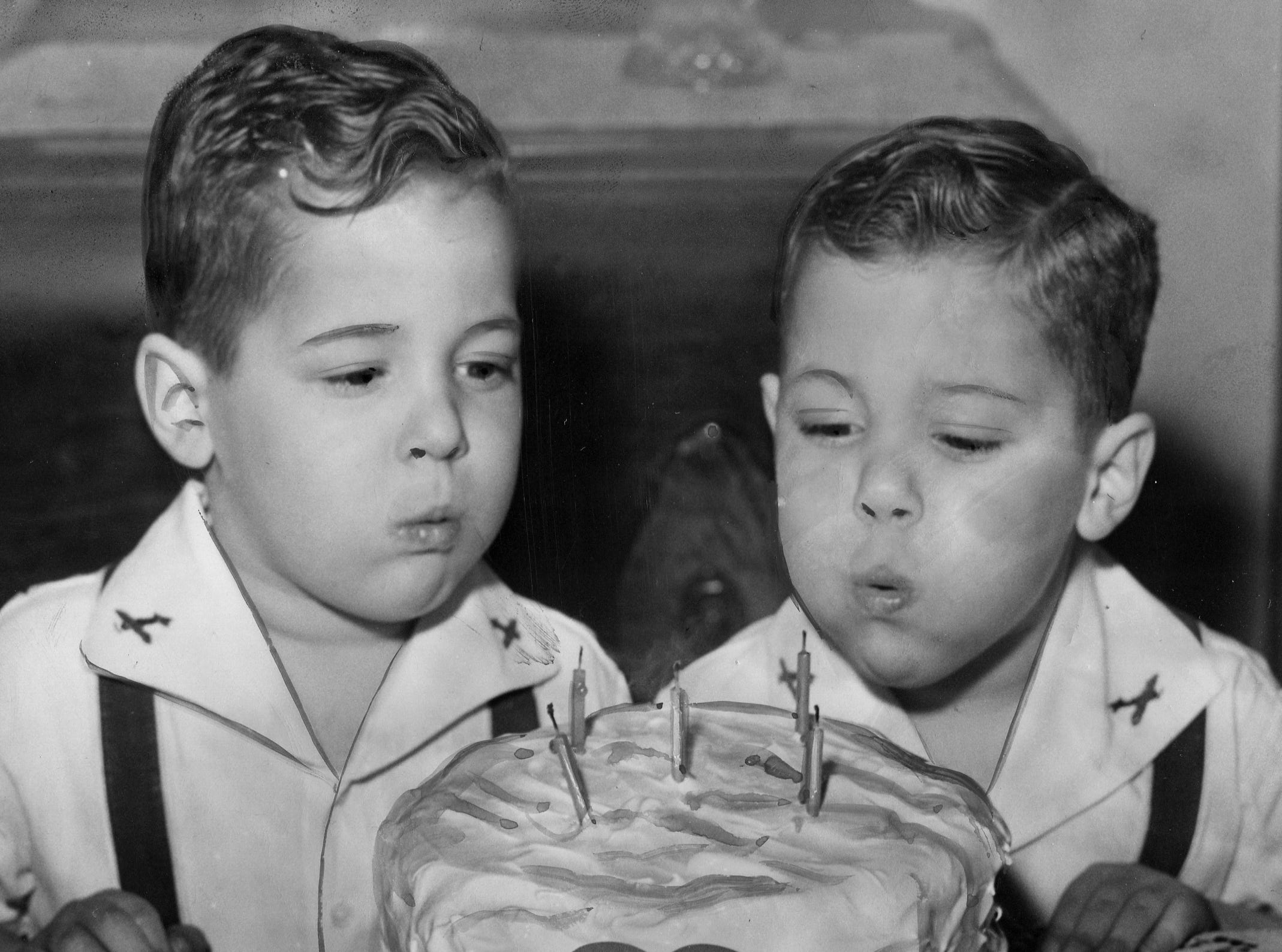 Twins Robert and Richard Benoit celebrate their fifth birthdays on Feb. 11, 1944 in Detroit.