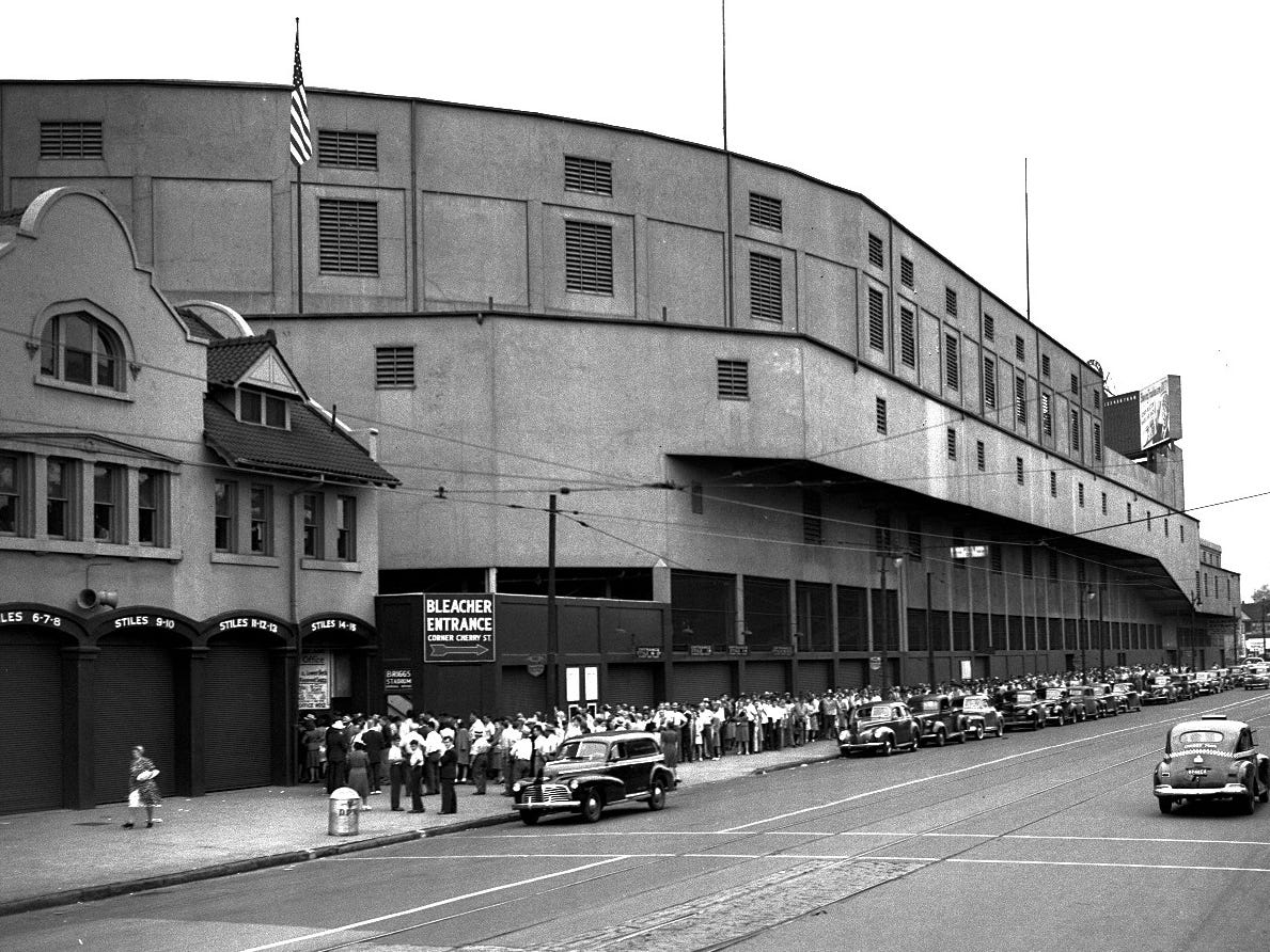 Fans wait to get into Briggs Stadium for a Tigers game in 1944. The team finished 88-66 that season, second in the American League, one game behind the St. Louis Browns.