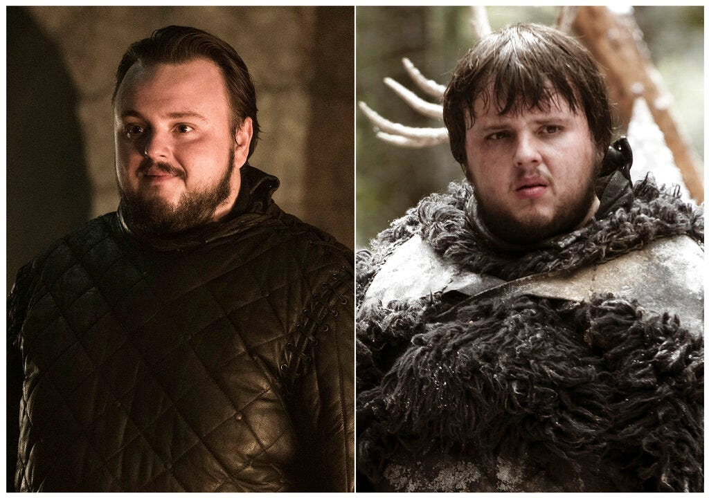 This combination photo of images released by HBO shows John Bradley portraying Samwell Tarly.