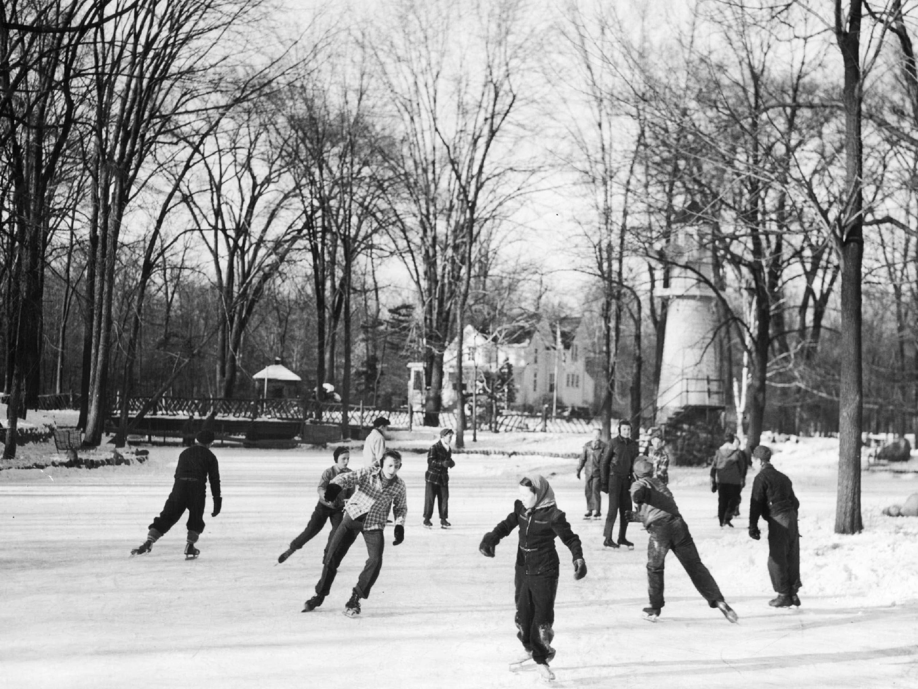 People skate on the pond in Detroit's Palmer Park in the winter of 1944.