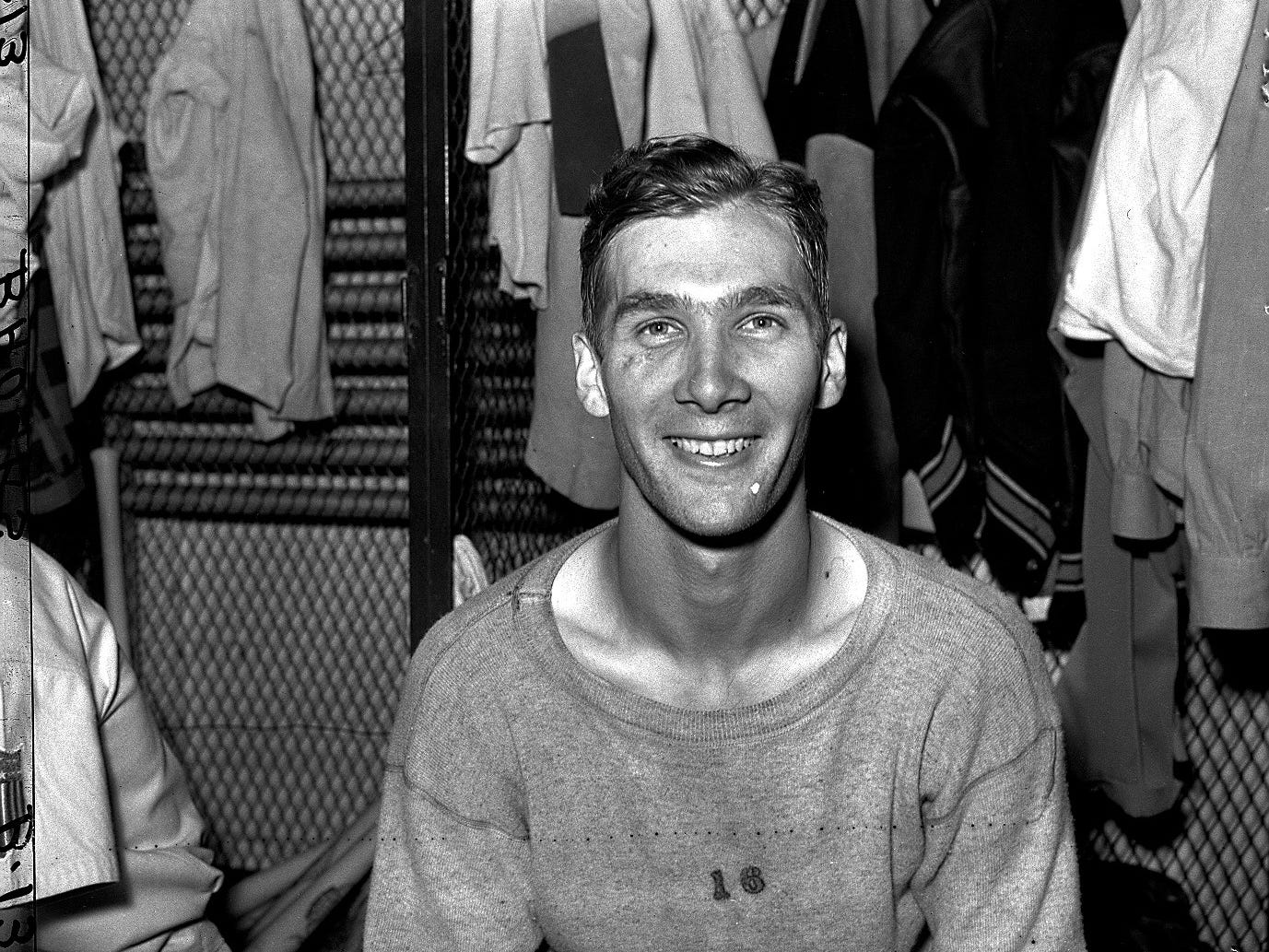 Detroit Tigers pitcher Hal Newhouser sits in the locker room in 1944, a season in which he went 29-9 and was the American League MVP. The Detroit native would spend 17 seasons in the major leagues. He was inducted into the Baseball Hall of Fame in 1992.