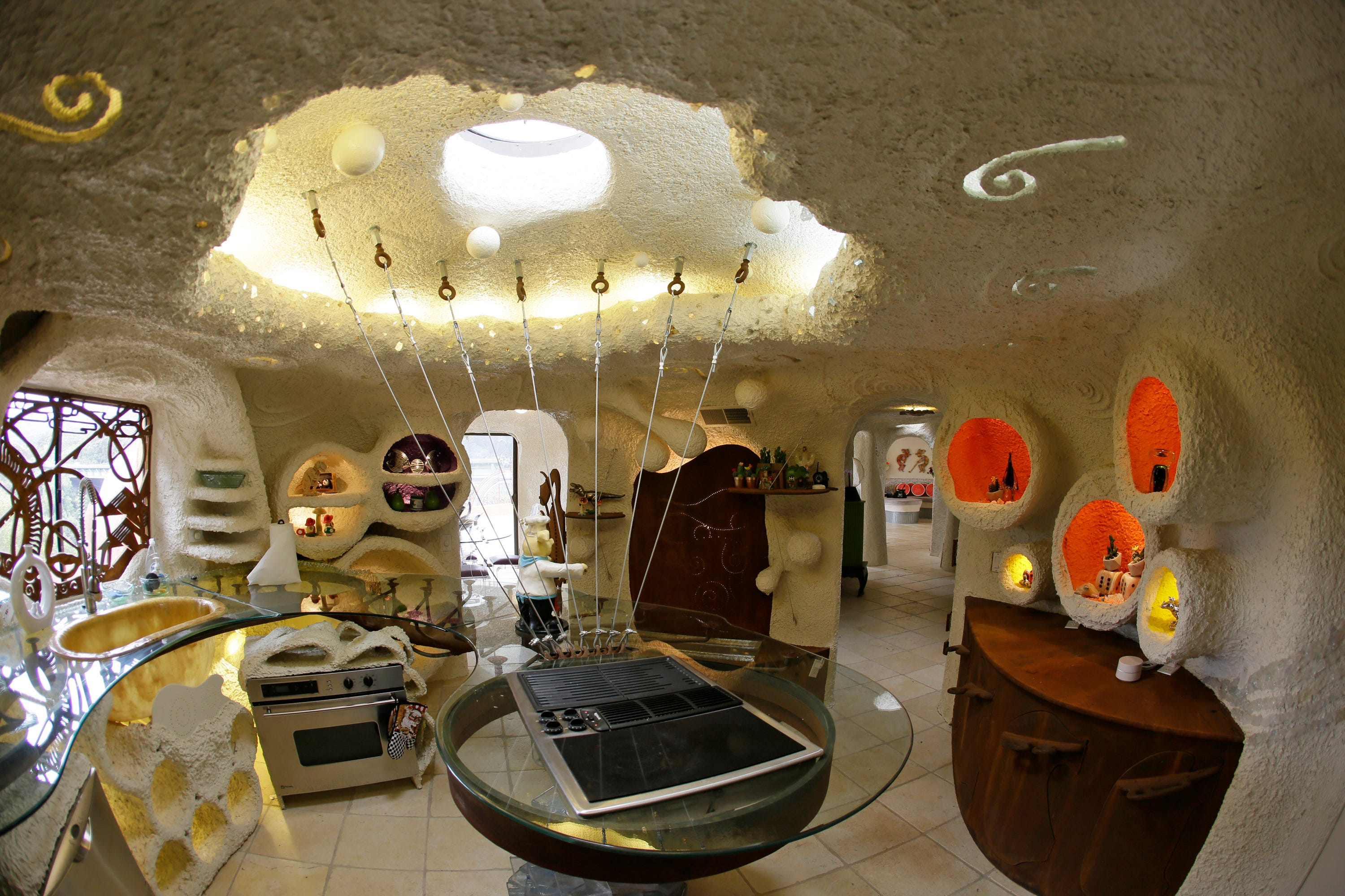 A view of the kitchen inside the Flintstone House in Hillsborough, Calif.