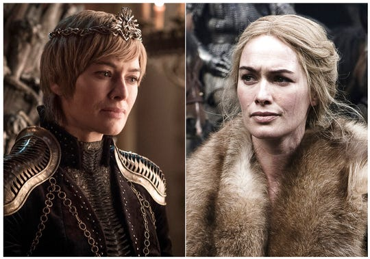 This combination photo of images released by HBO shows Lena Headey portraying Cersei Lannister.