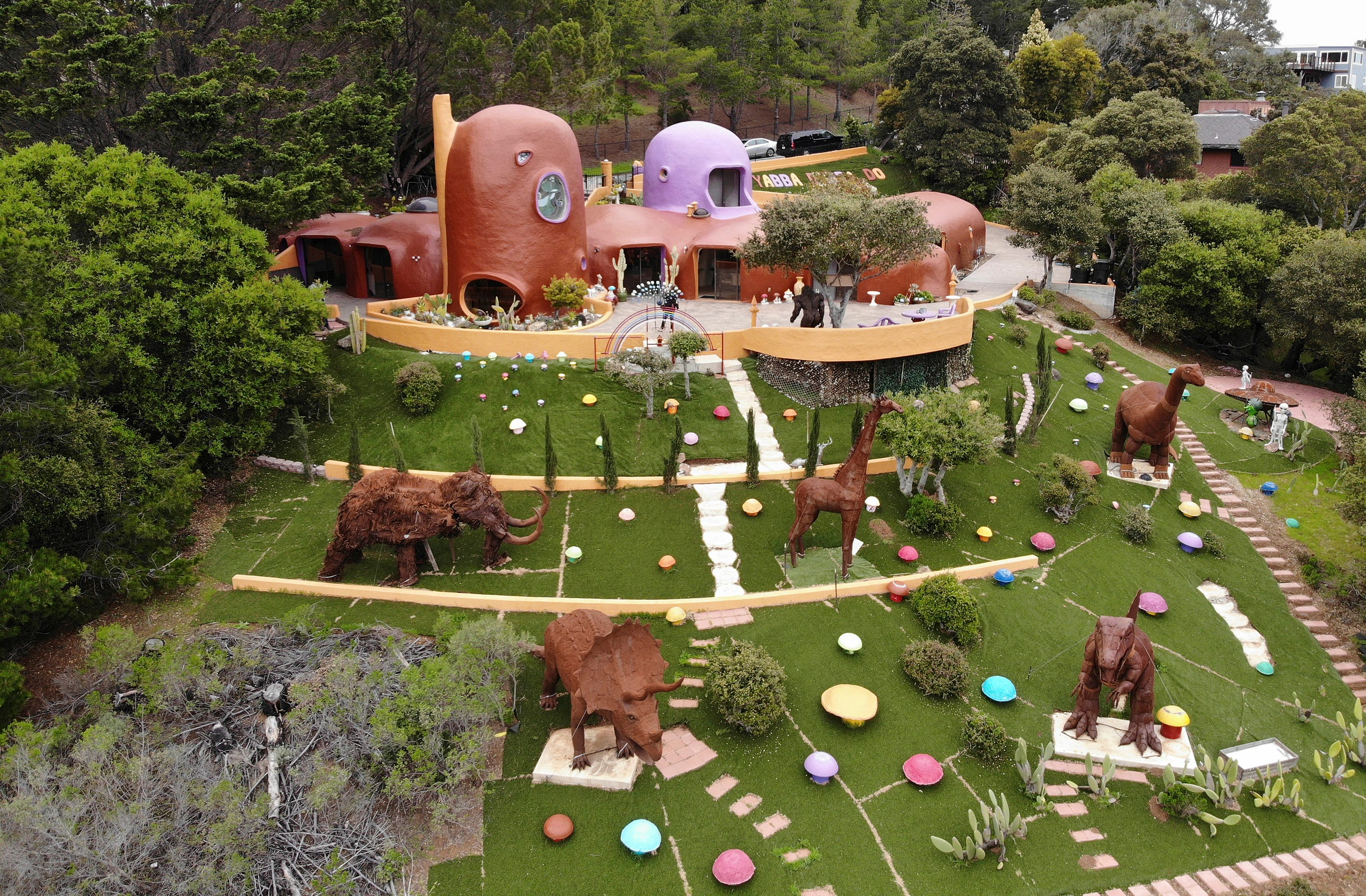 An aerial view of the Flintstone House in Hillsborough, Calif.