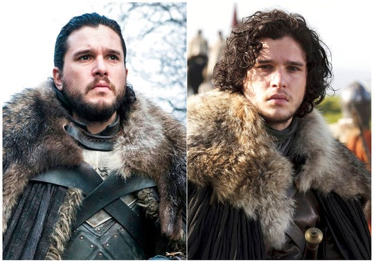 This combination photo of images released by HBO show Kit Harington portraying Jon Snow.