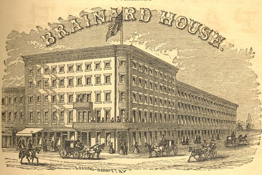 A lithograph of the Brainard House in 1867.