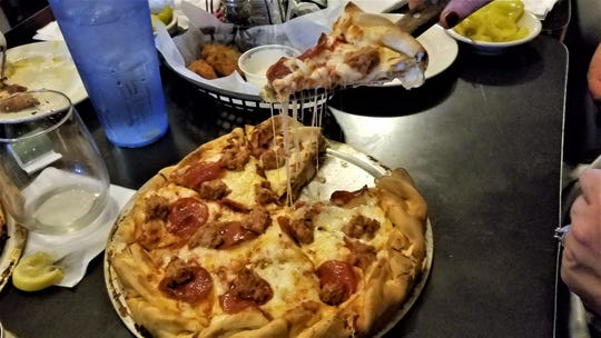 The double decker pizza from The Deerhead.