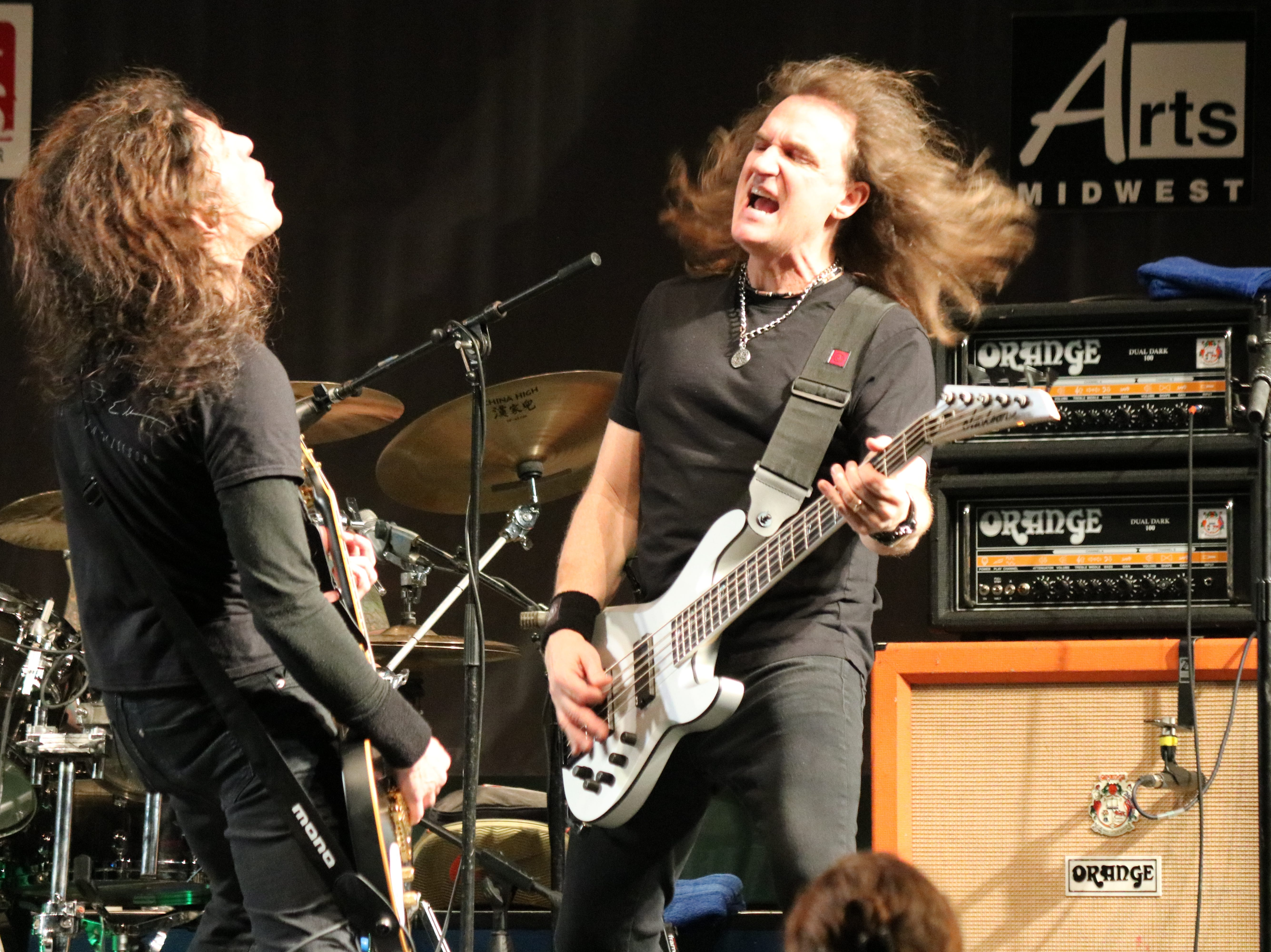 Legendary bassists Frank Bello of Anthrax and David Ellefson of Megadeth rocked the stage as Altitudes & Attitude at the 2019 Midwest Rhythm Summit at Terra State Community College on Saturday.