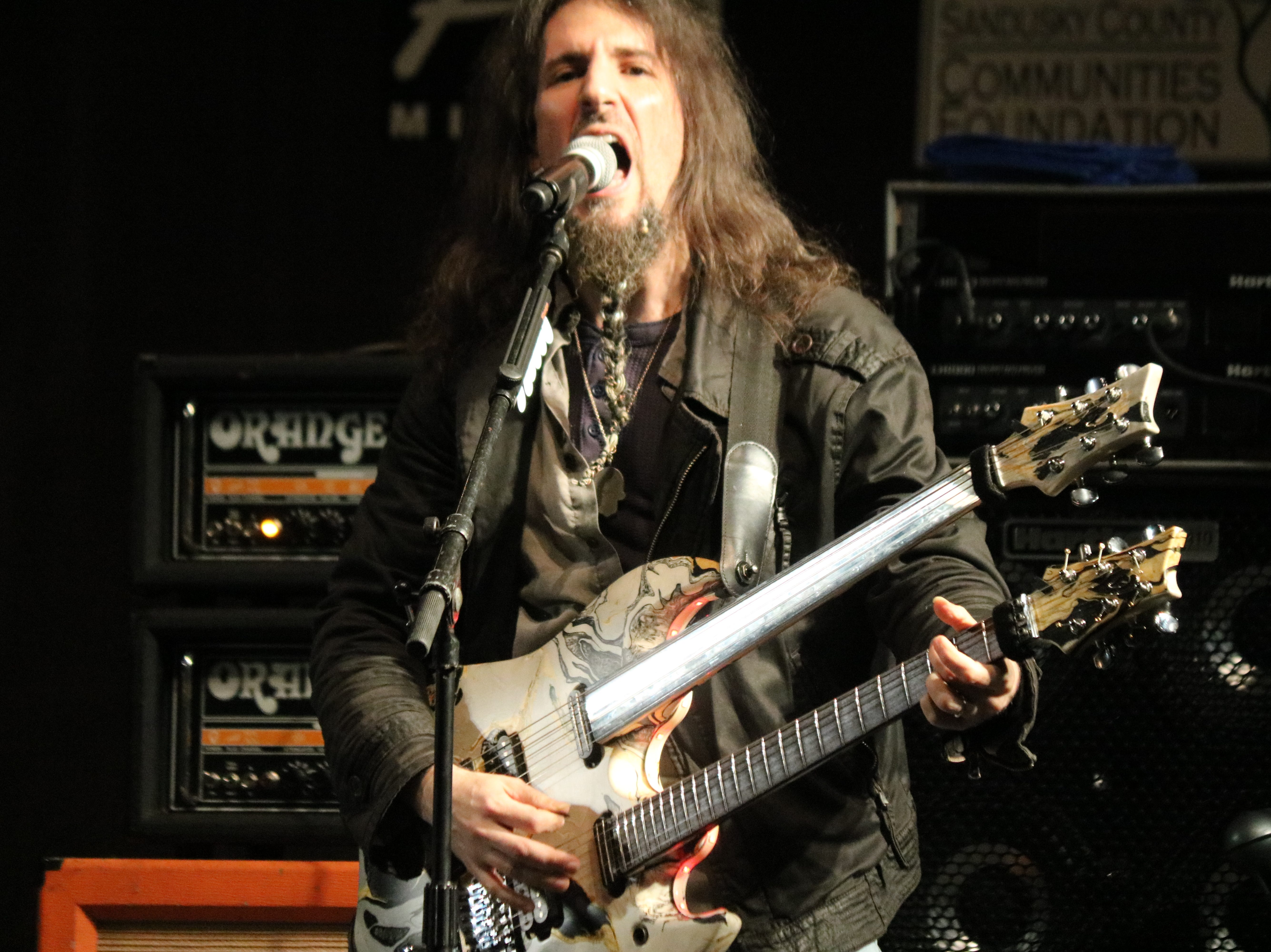 """Ron """"Bumblefoot"""" Thal performs with Altitudes & Attitude as they rock the stage at the 2019 Midwest Rhythm Summit at Terra State Community College on Saturday."""