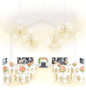 A rendering of The LedgeCrest Reserve's main event room shows off its vaulted ceilings and chandeliers.