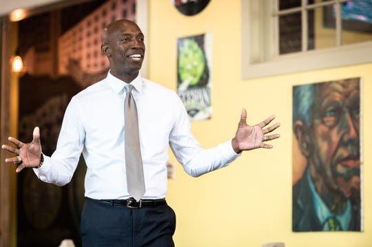 Wayne Messam, mayor of Miramar, Fla., and a 2020 Democratic presidential candidate, speaks at the Growler Haus in the Village of West Greenville, Apr. 8, 2019.