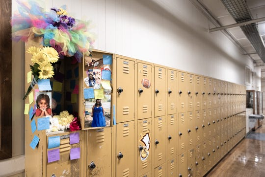 A memorial set up Monday, Apr. 8, 2019, at the locker of 18-year-old Trinity Harrison of Greenwood, at Ware Shoals High School.  Harrison was killed when a drunk driver collided with the vehicle she was riding in with her prom date on U.S 25 South on Saturday, Apr. 6, 2019.