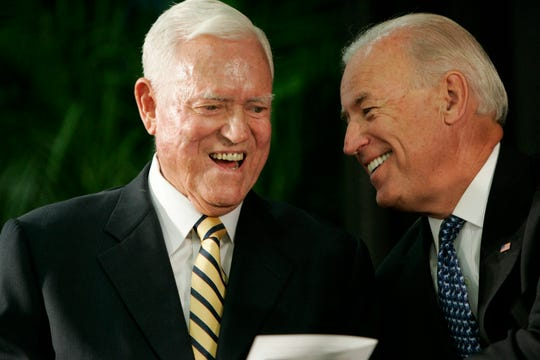 FILE - In this Friday, July 23, 2010, file photo, Vice President Joe Biden chats with former U.S. Sen. Ernest Fritz Hollings during the dedication ceremony of the new Ernest F. Hollings Special Collections Library in Columbia, S.C.