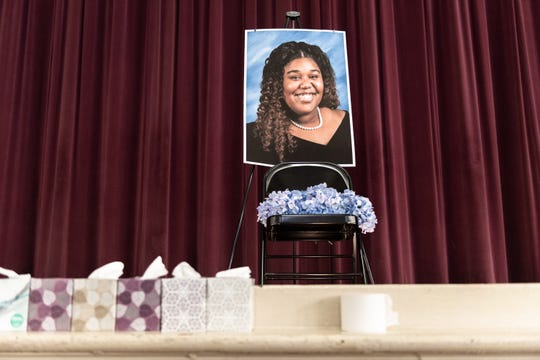 A memorial set up in the auditorium of Ware Shoals High School Monday, Apr. 8, 2019, after 18-year-old Trinity Harrison, of Greenwood was killed when a drunk driver collided with the vehicle she was riding in with her prom date on U.S 25 South on Saturday, Apr. 6, 2019.