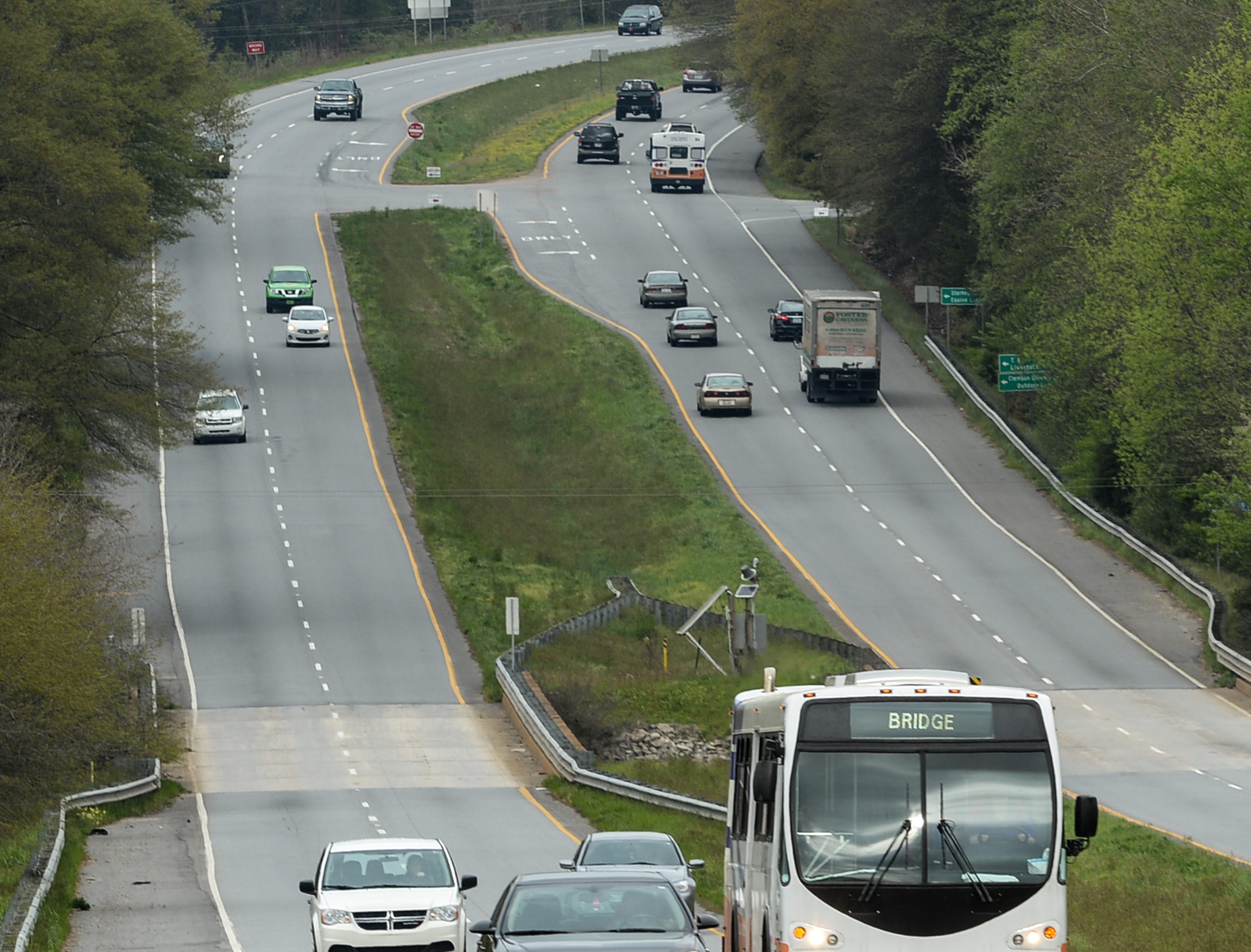 A Tiger Transit bus drives students in the Bridge to Clemson program from Clemson campus to their classes in Pendleton at Tri-County Technical College Monday.