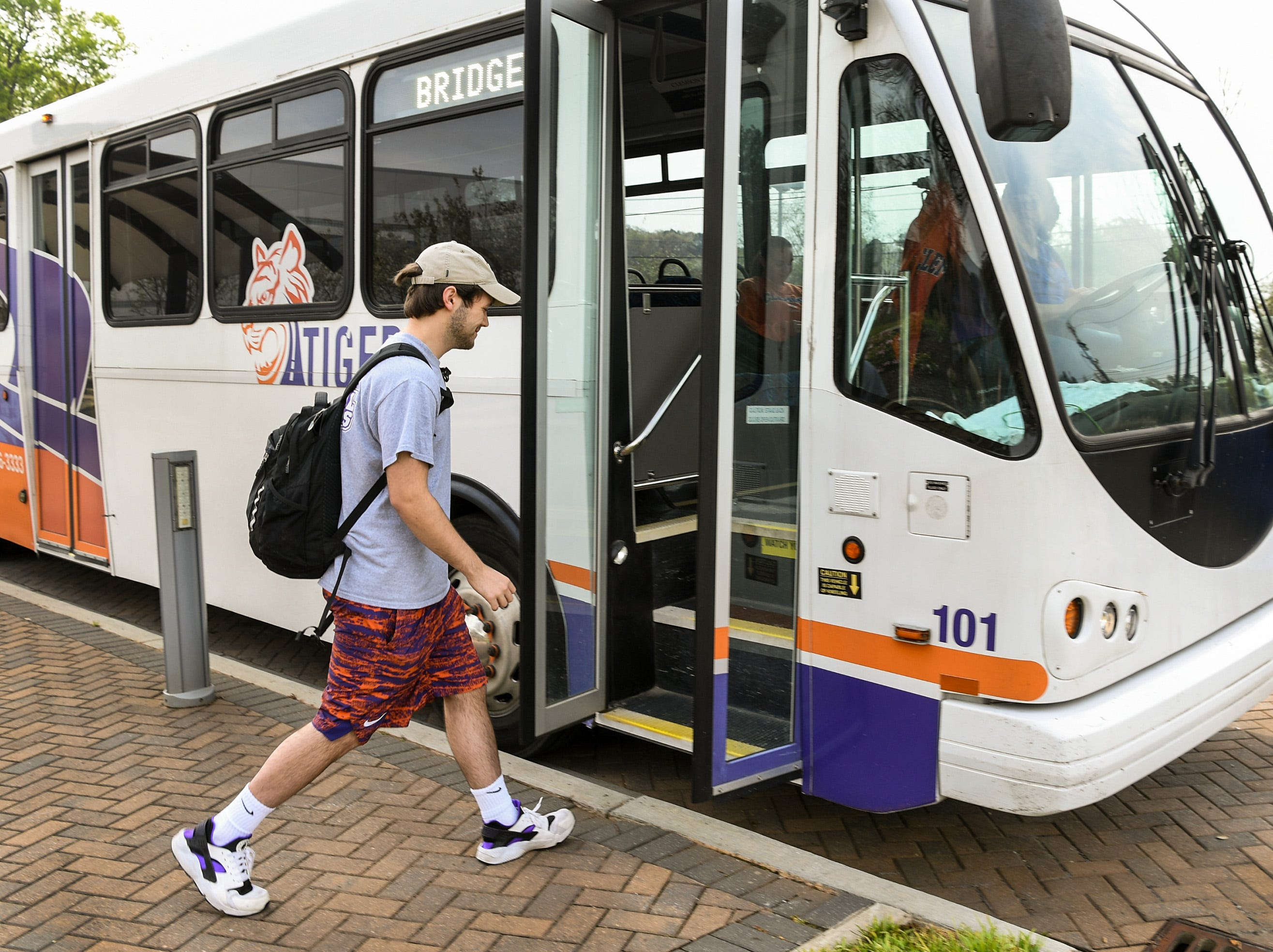 Porter Duncan of Florence, a student in the Bridge to Clemson program, takes the bus back to his Clemson campus housing after his classes at Tri-County Technical College in Pendleton Monday.