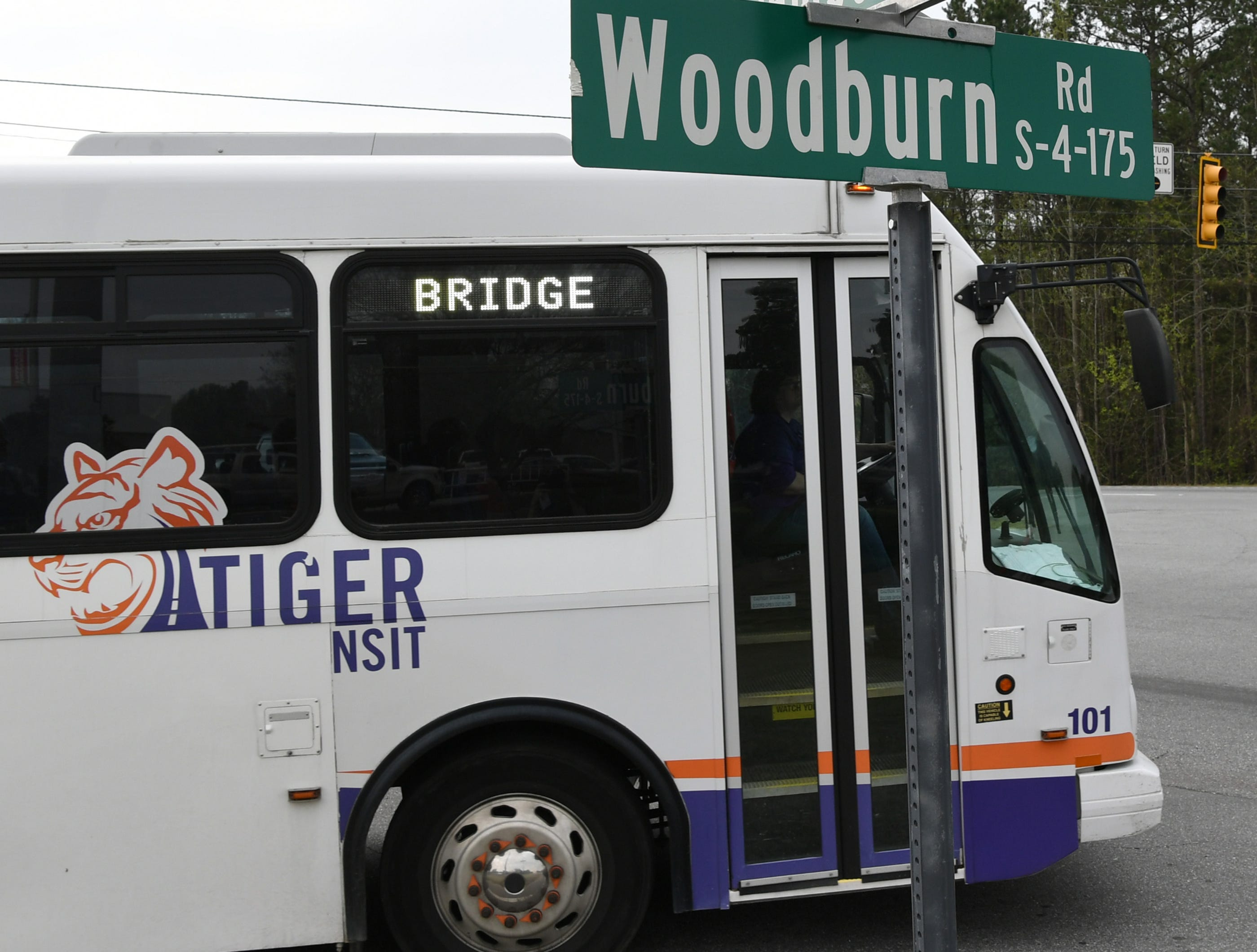 A Tiger Transit bus drives students in the Bridge to Clemson program to Clemson campus after their classes at Tri-County Technical College in Pendleton Monday.
