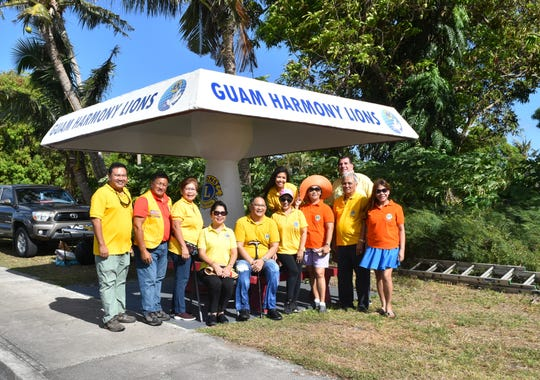Guam Harmony Lions Club of Lions Clubs International District 204 under the chairmanship of Lion John Rupley conducted the annual maintenance of their adopted bus stop in Anigua on March 16 and 30. Pictured from left: Membership director Lion William Sevillo, Lion Ben Servino, Treasurer Lion Nilfa Milan, Region 1 Chair Loisa Cabuhat, lion John Rupley, auditor Lion Bennet Rupley, Past District Governor and Charter President Lynda Tolan, Lion Tamer Juanito Milan and Lion Tailtwister Shirley Trinidad.  Second row from left: Lion Jemimah Martinez and Lion Dr. Phillip Tutnauer. Not pictured: Lion Prexy Michelle Taitano, Second Vice President Lion Tony Ada, Lion Dr. Roger Martinez and Lion Feliz Amor Pellosma.