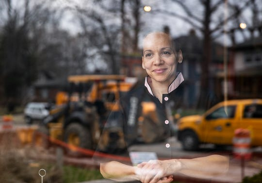 Chef Deidra Henry looks out onto construction from the window of her business, Taste CafŽÊand Marketplace at 5164 North College Avenue in South Broad Ripple, on Friday, April 5, 2019. Henry estimates her sales have dropped 35 to 40 percent since this time last year. ÒIÕve made it through lots of restaurants opening and closing within the one, two mile area,Ó Henry said. ÒNothing has impacted me like this. I understand the potential on the other side, but getting to the other side is going to be hard.Ó