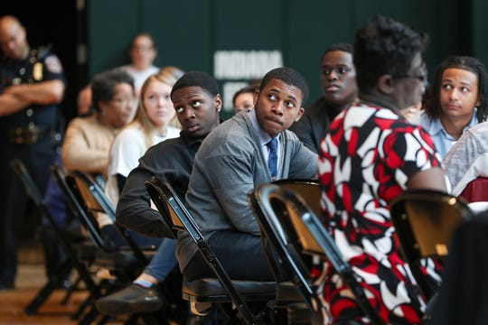Local teens listen to presenters during the Leadership Together Youth Summit at Banker's Life Fieldhouse in Indianapolis, Monday, April 8, 2019. The conference brought teens and Indianapolis law enforcement together for a panel and open discussion about challenges relating to violence in Indianapolis.