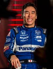 FILE -- IndyCar driver Takuma Sato is interviewed during IndyCar auto racing media day, Monday, Feb. 11, 2019, in Austin, Texas.