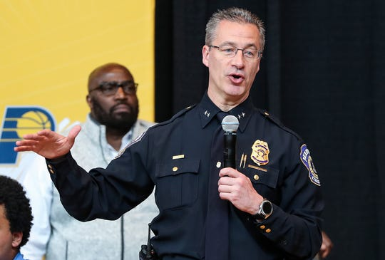 """IMDP Chief Bryan Roach speaks at the Leadership Together Youth Summit at Banker's Life Fieldhouse in Indianapolis, Monday, April 8, 2019. In his remarks, Roach mentioned the weekend's shootings, which left 6 dead in 24 hours. """"As a police chief and as a city and city leaders, you go through a weekend like that, it's hard to wake up in the morning,"""" Roach said. """"But you come to things like this and you get rejuvenated by the power that's in this room, by the willingness of those that educate you, those leaders."""""""