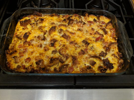 This tomato, sausage and cheddar bread pudding dish is surprisingly easy to make.