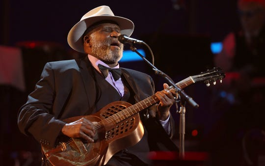 Taj Mahal performs at the 60th annual Grammy Awards at Madison Square Garden on Jan. 28, 2018, in New York.