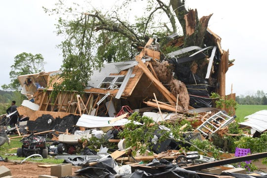 A mobile home was destroyed on Sunday, April 7, 2019. Wilkinson County's EMA director said it appeared a tornado touched down.