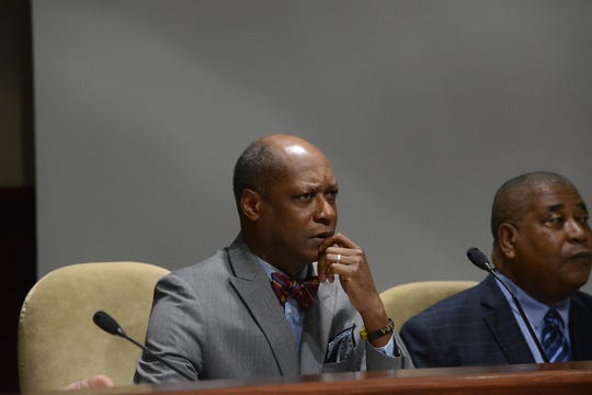 District 2 Jackson City Councilman Ernest Brooks listens during the April city council meeting in Jackson, Tenn.
