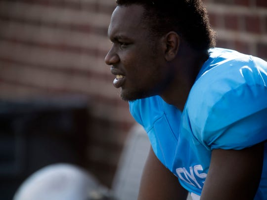 """Isaiah Wright, a running back featured on the Netflix series """"Last Chance U, is playing football for the Alcoa Alloys, a semipro team with the Interactive American Football League on Saturday, April 6, 2019."""