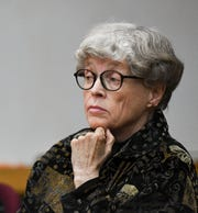 Former MSU President Lou Anna Simon appears in District Judge Julie Reincke's courtroom, Monday, April 8, 2019, in Charlotte, Michigan for the second day of her preliminary hearing.   Simon faces four charges, including two felonies, because investigators say she lied to police about when she knew about a sexual assault report against former MSU doctor Larry Nassar.  [USA Today Network/Matthew Dae Smith/Lansing State Journal]