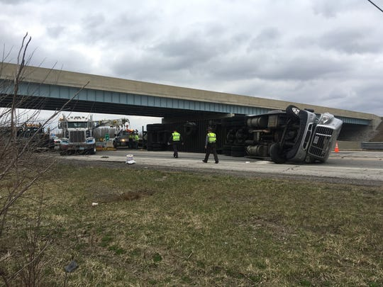 A semi-trailer truck overturned and crashed Monday on U.S. 23 at Marion Williamsport Road, shutting down the southbound lanes.