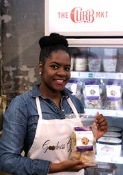Megan Mottley launched her new line of Goodness Gracious frozen cookie dough at The Curb Market on Monday.
