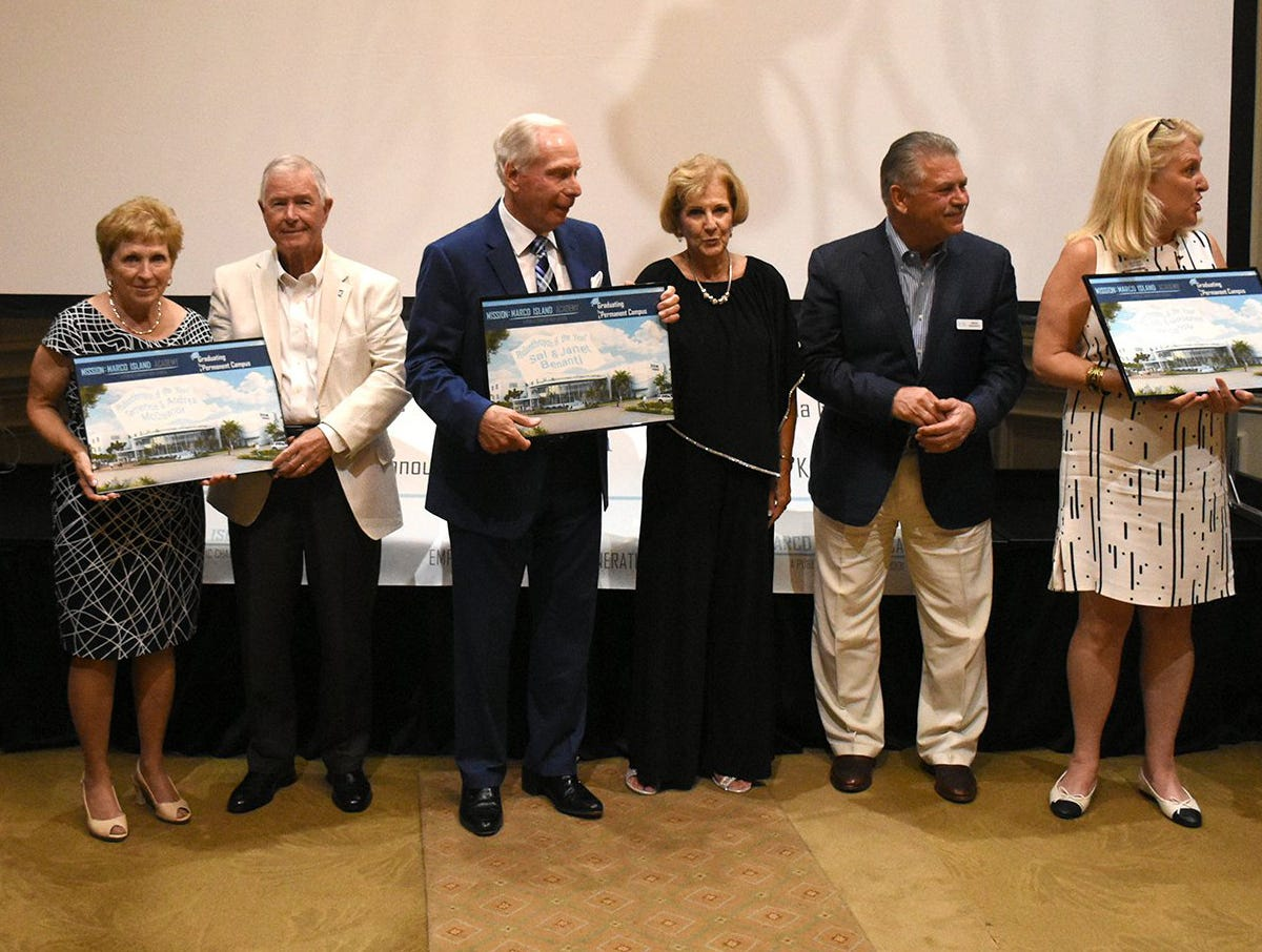 MIA Philanthropists of the Year Mark and Michelle Melvin, from left, Andrea and Terry McCreanor, Sal and Janet Benanti, and Dinos and Marianne Iordanou, with athletic director Ryan Marie Roberts. Marco Island Academy held 'Cheers for Champions,' a benefit dinner to raise funds for the school's athletic programs, Saturday evening at Hideaway Beach Club.