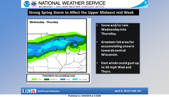 A winter storm is expected to affect a large portion of the central U.S., including Wisconsin.