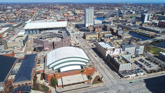 The UW-Milwaukee Panther Arena (lower center) on North Vel R. Phillips Avenue looking north in Milwaukee on Monday, April 8, 2019. The area will be heavily utilized for the 2020 Democratic National Convention. Also seen is the soon to be demolished BMO Harris Bradley Center, the Milwaukee Journal Sentinel and the Fiserv Forum.