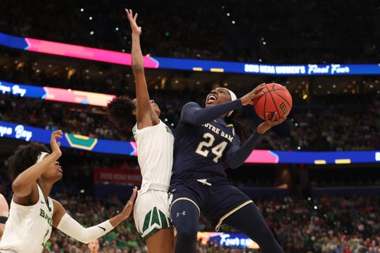 Notre Dame guard Arike Ogunbowale scores 31 points in an NCAA championship loss to Baylor Sunday night.