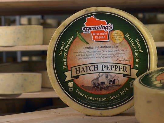 One of Kerry Hennning's favorite cheeses is his hatch pepper cheddar, made with the chiles grown in New Mexico.
