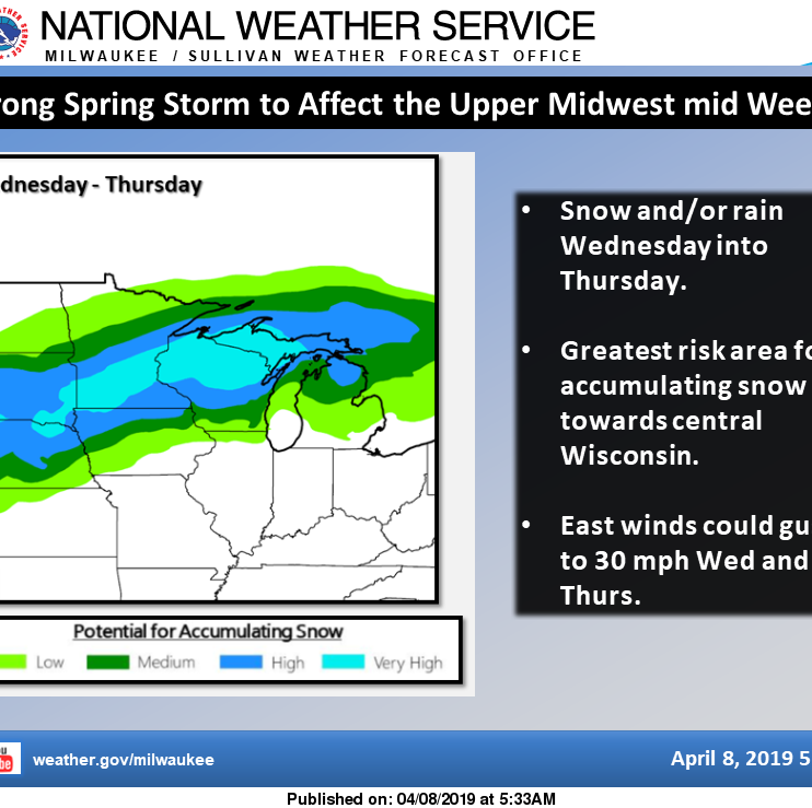 This is no typo - snow is forecast Wednesday, maybe a foot in northern Wisconsin, half inch possible in Milwaukee