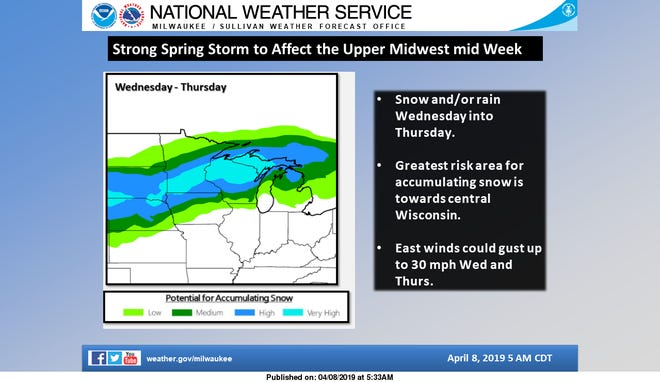 Forecasters say accumulating snow, perhaps a foot of it, could fall across portions of Wisconsin this week.
