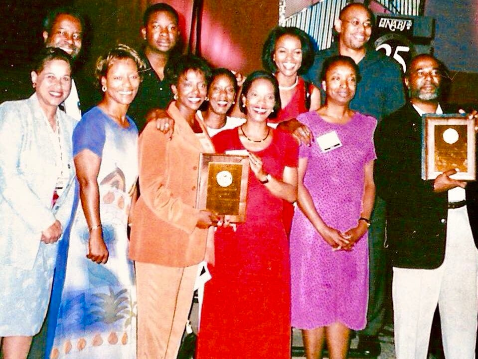 "2001: The Wisconsin Black Media Association was named ""Chapter of the Year"" by the National Association of Black Journalists. Greg Stanford is in the back row, far left. Stanford helped to create the WBMA as a way for African American journalists from print, broadcast, radio and public relations to get together and talk about issues important to them."