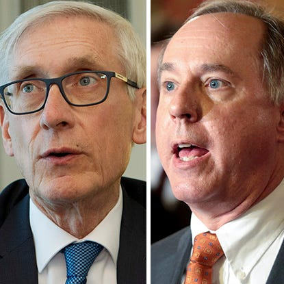 Senate Majority Leader Scott Fitzgerald (left), Gov. Tony Evers (center) and Assembly Speaker Robin Vos (right)