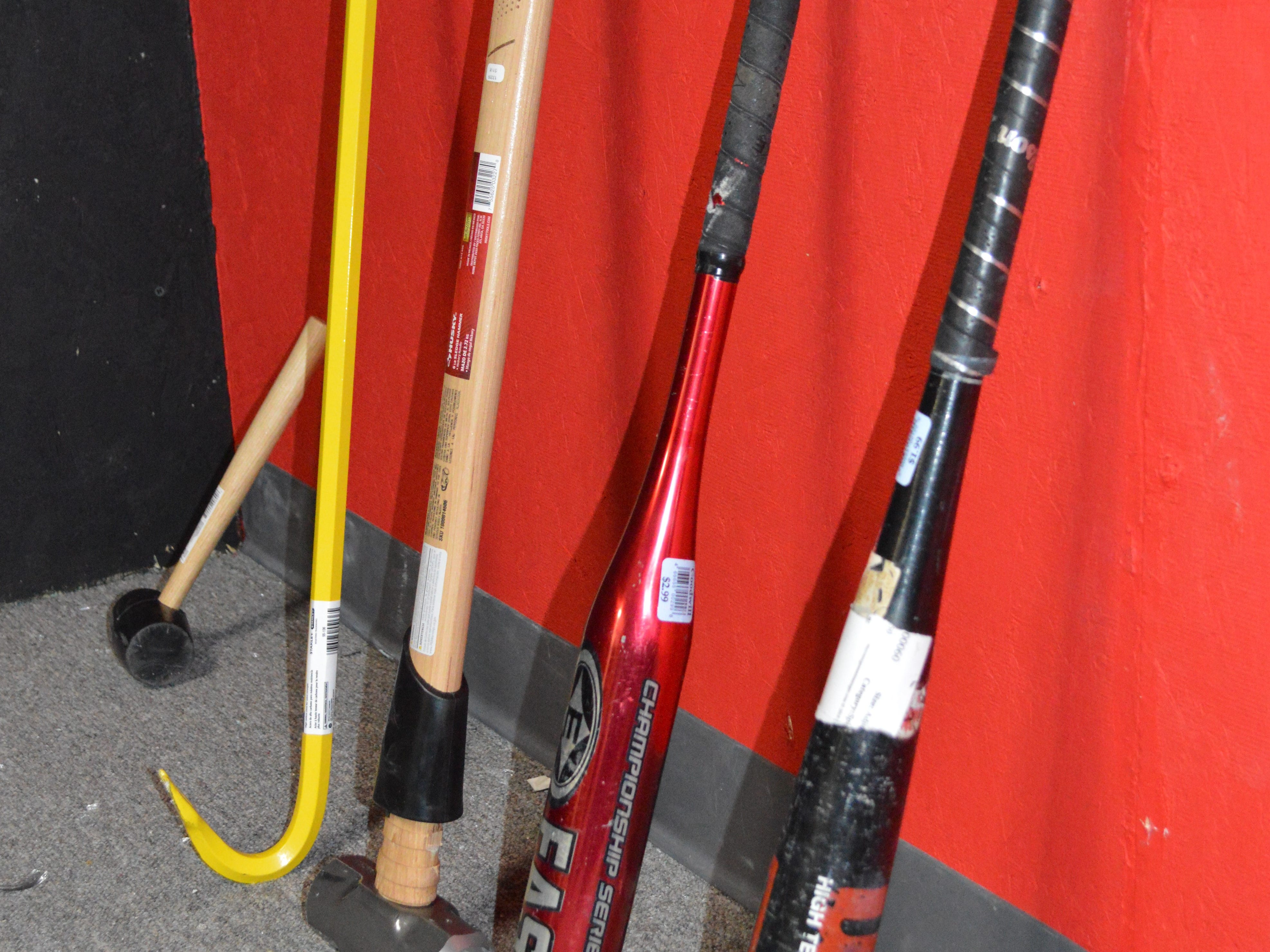 Participants can smash objects with a sledgehammer, crowbar, mallet, and baseball bats.