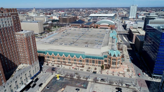 The Wisconsin Center on West Wisconsin Avenue and Phillips Avenue looking north in Milwaukee on April 8, 2019. The area will be heavily utilized for the 2020 Democratic National Convention. Also seen is the UW-Milwaukee Panther Arena and the Fiserv Forum.