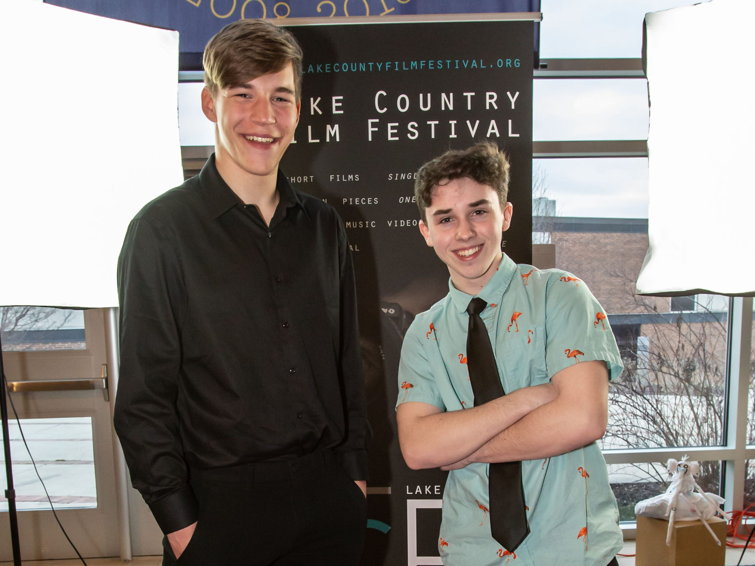 Filmmakers Jacob Becker (left) and Adam Dziegielewski, both of New Berlin, pause for a photo on the red carpet during the 4th Annual Lake Country Film Festival at the Oconomowoc Arts Center on Friday, April 5, 2019. The annual festival is open to students in the Lake Country Area and aims to encourage future filmmakers to create work that inspires audiences through the power of visual artistry, sound design, and storytelling.